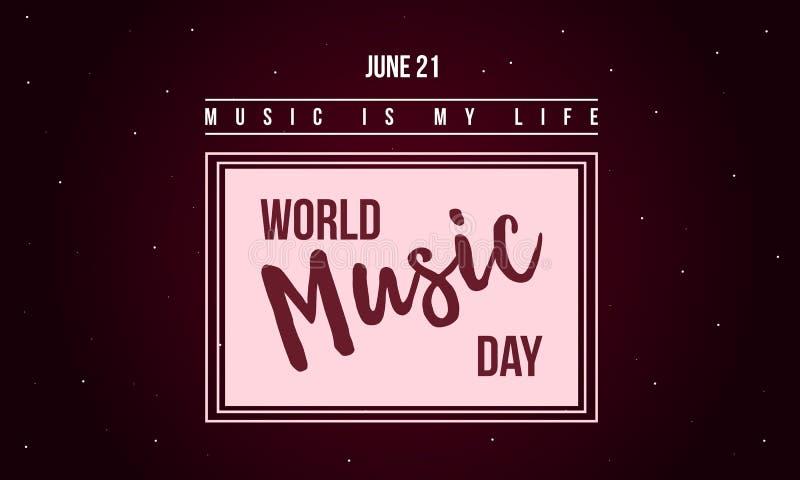 Światowy muzyczny dnia świętowania stylu sztandar royalty ilustracja