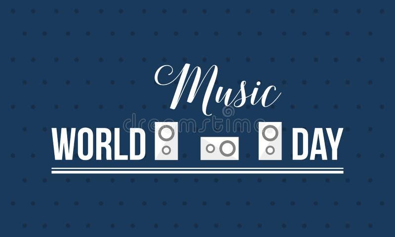 Światowy muzyczny dnia stylu sztandaru wektoru mieszkanie