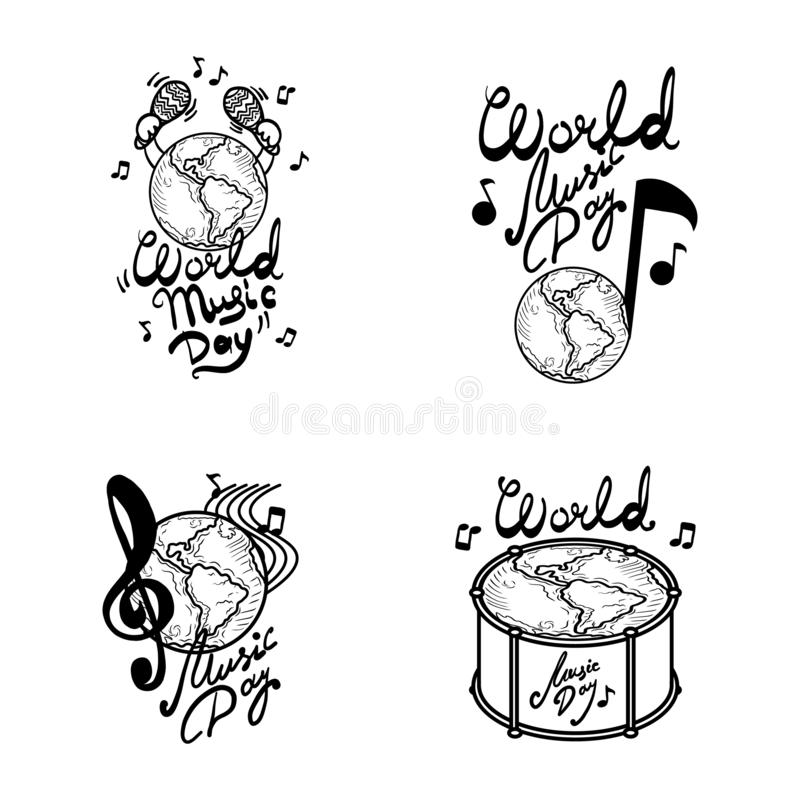 Światowy muzyczny dnia sztandaru set, ręka rysujący styl royalty ilustracja