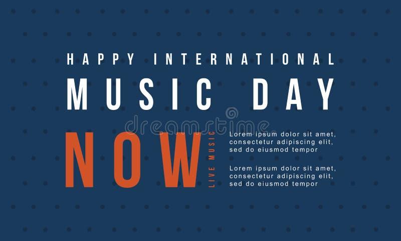 Światowy muzyczny dnia sztandaru wektoru mieszkanie ilustracji