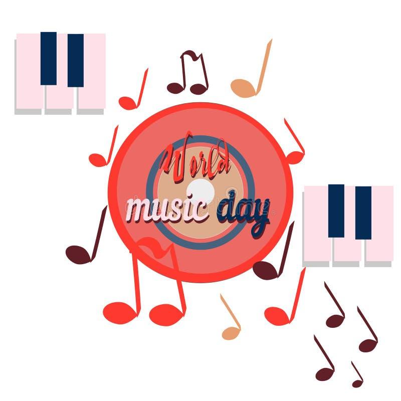 Światowy muzyczny dzień, czerwony dysk dźwięki, planeta globalna muzyka, wektorowy sztandar royalty ilustracja