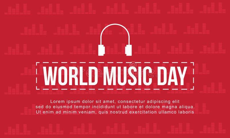 Światowy muzyczny dzień z czerwonym tło stylem ilustracji