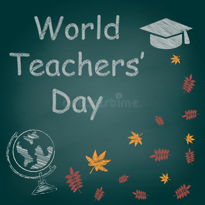 Światowy nauczyciela ` dnia kredy tekst na blackboard wektorze obraz royalty free