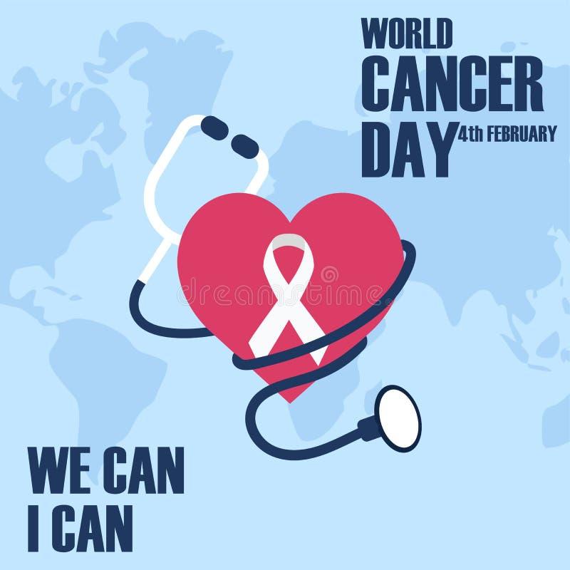 Światowy nowotworu dnia pojęcie Stetoskop z sercem i białą tasiemkową wektorową ilustracją royalty ilustracja