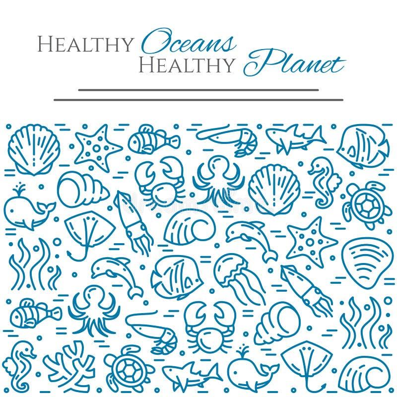Światowy oceanu dnia temat - piktogramy ryba, skorupa, rekin, delfin, żółw i inne denne istoty, odnosić sie kreskowych elementy ilustracji