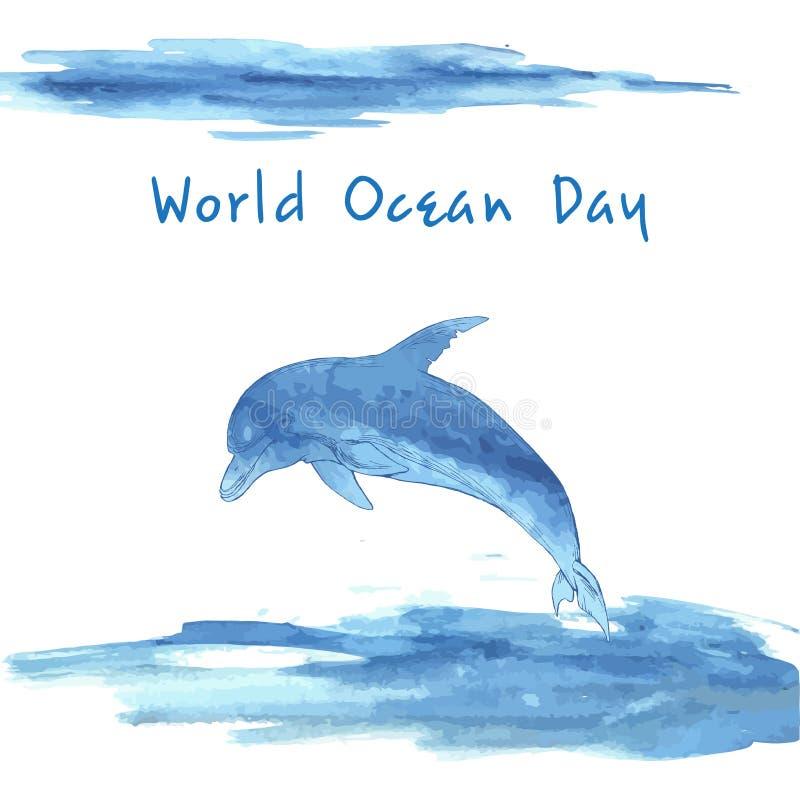 Światowy oceanu dzień Stylizowany wizerunek woda Granica w postaci fala Błękitny delfin, pociągany ręcznie Akwareli plama ilustracji