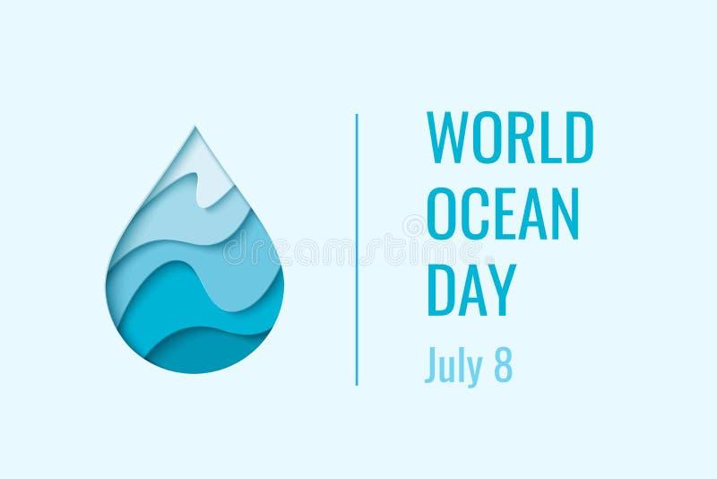Światowy oceanu dzień - wektorowy pojęcie royalty ilustracja