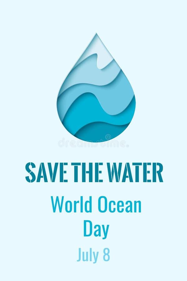 Światowy oceanu dzień - wektorowy waterdrop sztandar ilustracja wektor