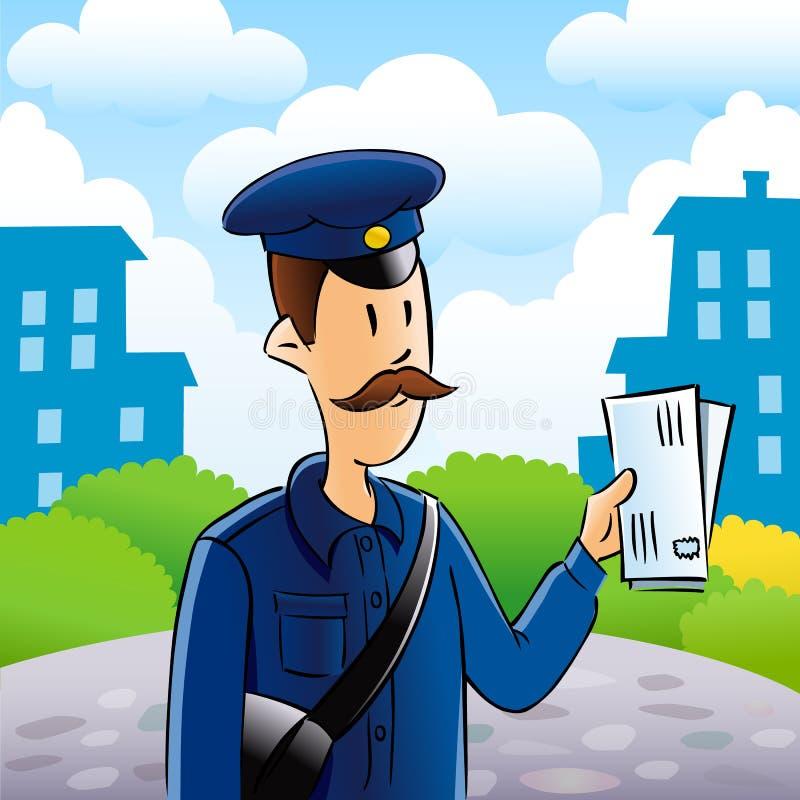 Światowy poczta dnia listonosz i mężczyzna ilustracyjni ilustracja wektor