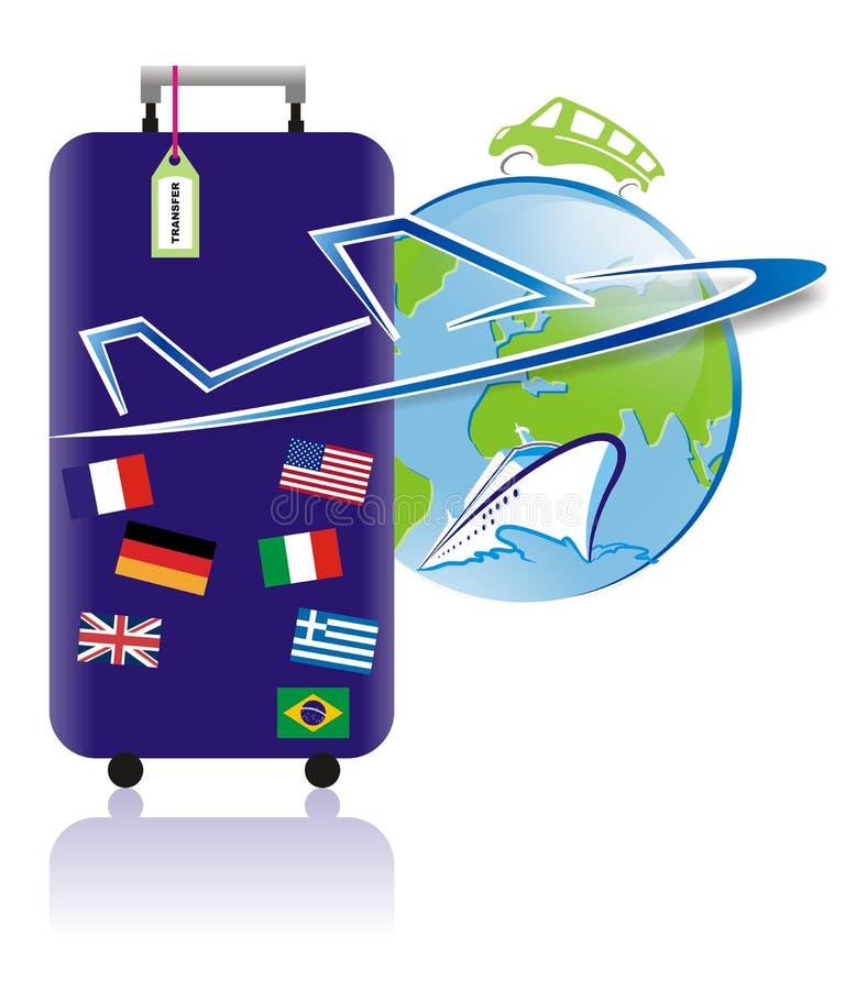 Światowy podróży i turystyki logo w wektorze ilustracji