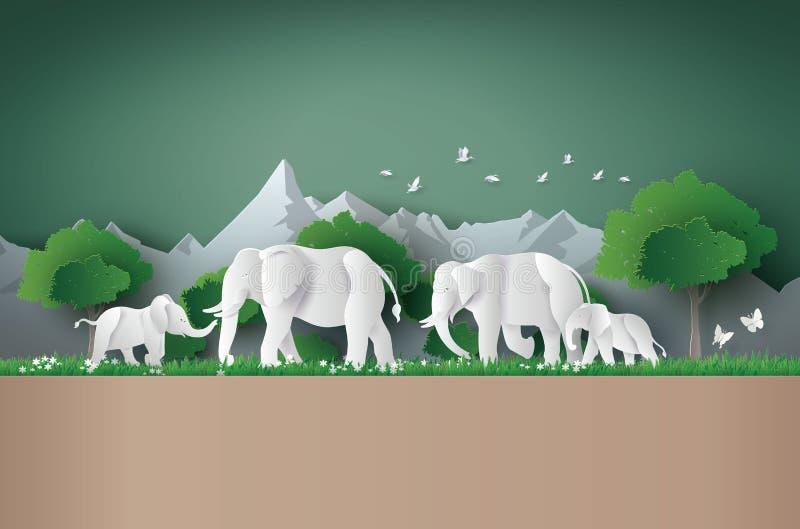 Światowy słonia dzień ilustracja wektor