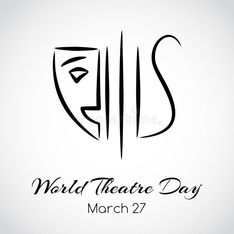 Światowy theatre dnia kartka z pozdrowieniami 8 emblemata eps odizolowywający wektorowy biel ilustracji
