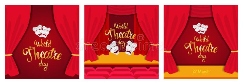 Światowy Theatre dzień ilustracji