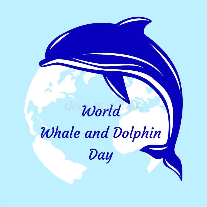 Światowy wieloryba i delfinu dzień Delfin i sylwetki kontynenty o ilustracji