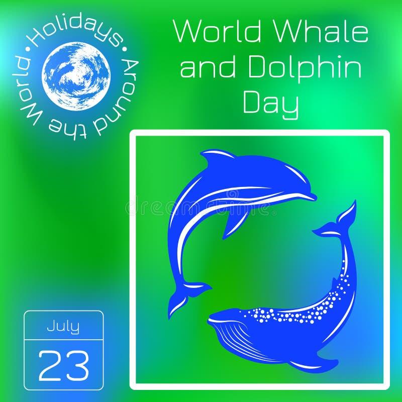 Światowy wieloryba i delfinu dzień Delfin i wieloryb Seria kalendarz Wakacje Dookoła Świata Wydarzenie każdego dnia rok ilustracji