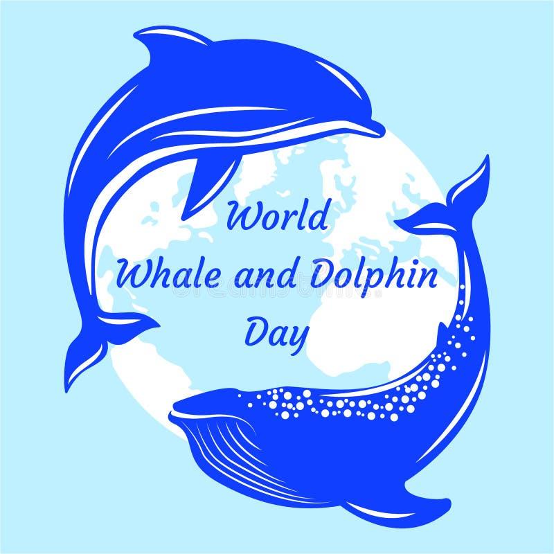 Światowy wieloryba i delfinu dzień Delfin i wieloryb, sylwetki kontynenty o ilustracja wektor