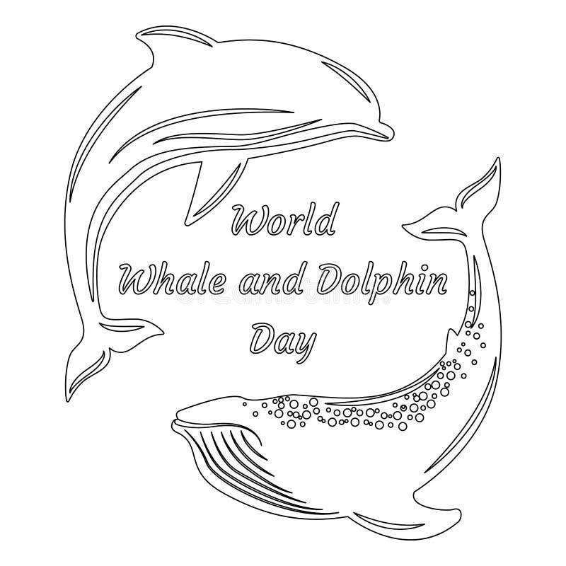 Światowy wieloryba i delfinu dzień Sylwetki delfin i wieloryb o royalty ilustracja
