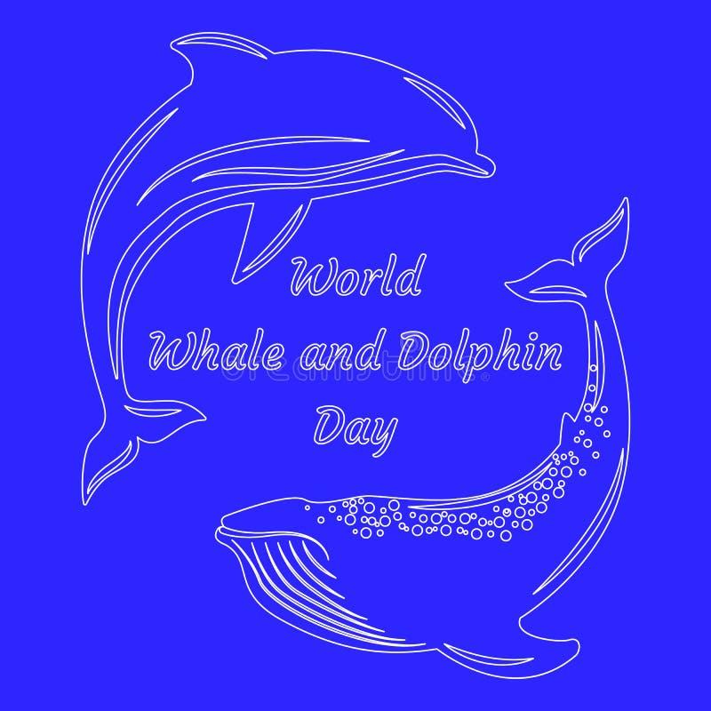 Światowy wieloryba i delfinu dzień Sylwetki delfin i wieloryb o niebieska tła ilustracji