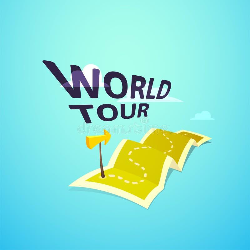 Światowy wycieczki turysycznej pojęcia logo, długa trasa w podróży mapie ilustracja wektor