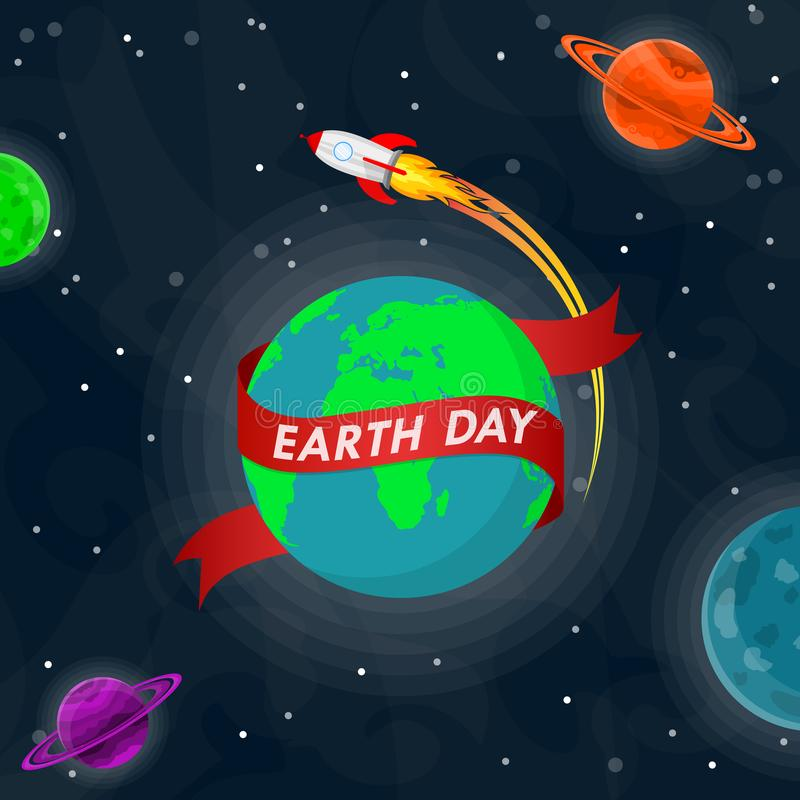 Światowy Ziemskiego dnia plakat w kosmosie również zwrócić corel ilustracji wektora royalty ilustracja