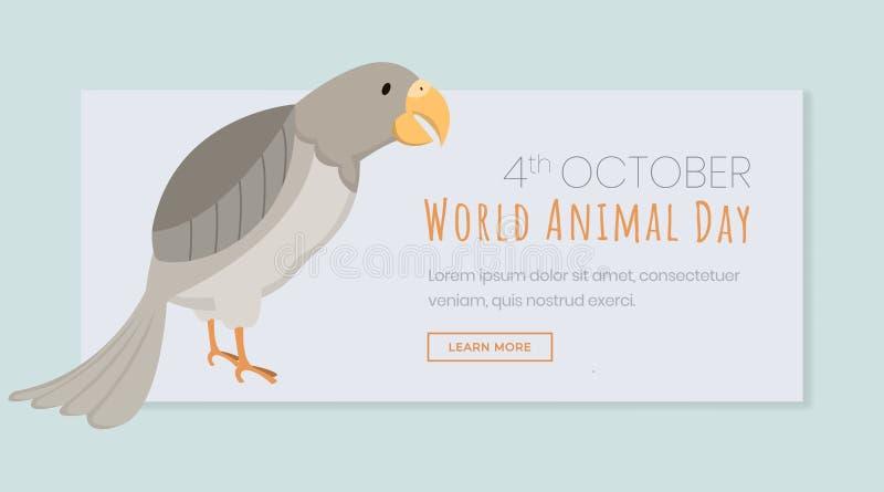 Światowy zwierzęcy dnia lądowania strony szablon Egzotyczni ptaki, zagrożonego gatunku Października wakacje Odświętność zawody mi ilustracja wektor