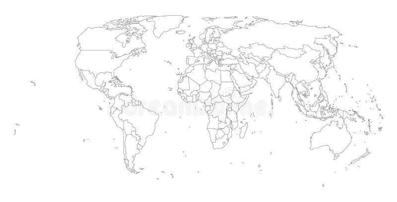 Światowych krajów pusta mapa, odosobniona royalty ilustracja