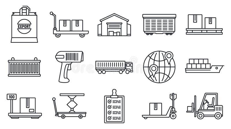 Światowych towarów eksportowe ikony ustawiać, konturu styl royalty ilustracja