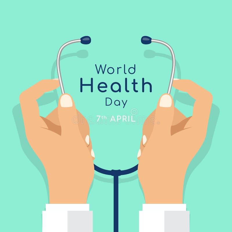 Światowych zdrowie dzień z ręki lekarki chwyta stetoskopu wektorowym projektem royalty ilustracja