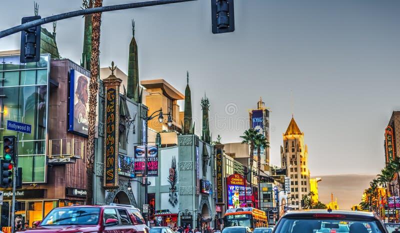 Światu Hollywood sławny bulwar przy zmierzchem obrazy royalty free
