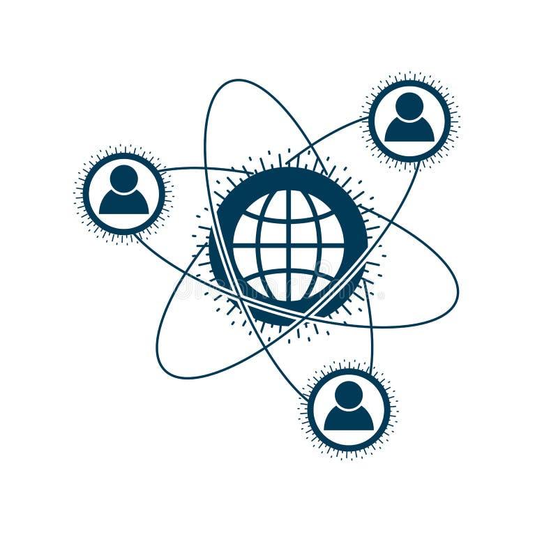 Światu i osoby kreatywnie logo, unikalny wektorowy symbol tworzył z różnymi ikonami ilustracja wektor