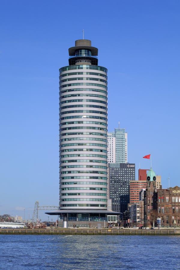 Światu portu centrum, projektujący Sir normandczyk Przybrany, Rotterdam, holandie obraz royalty free
