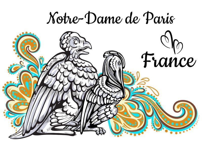 Światu punktu zwrotnego sławna kolekcja france Paris dame De Notre Paryża ? himera Piękny wektorowy grafiki kolorowy dekorujący royalty ilustracja