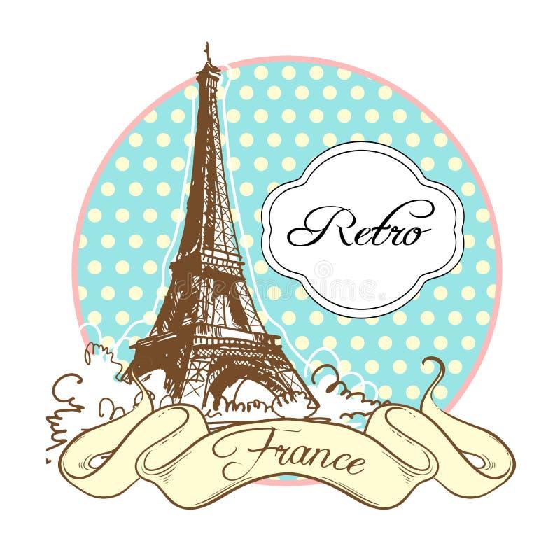 Światu punktu zwrotnego sławna kolekcja w retro stylu Francja paris wieża eiffla Wektorowa ilustracja odizolowywająca na bielu ilustracja wektor