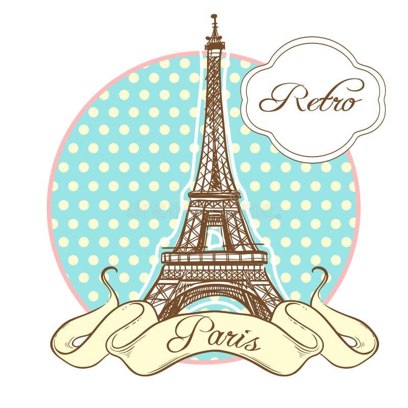 Światu punktu zwrotnego sławna kolekcja w retro stylu Francja paris wieża eiffla Wektorowa ilustracja odizolowywająca na bielu royalty ilustracja