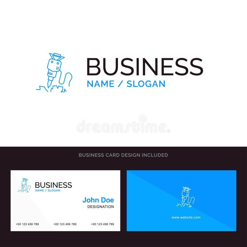 Świder, budynek, budowa, naprawa, Narzędziowy Błękitny Biznesowy logo i wizytówka szablon, Przodu i plecy projekt ilustracji