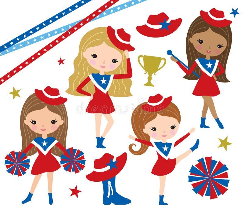 Świder drużyny chirliderka dziewczyny wektoru ilustracja ilustracji