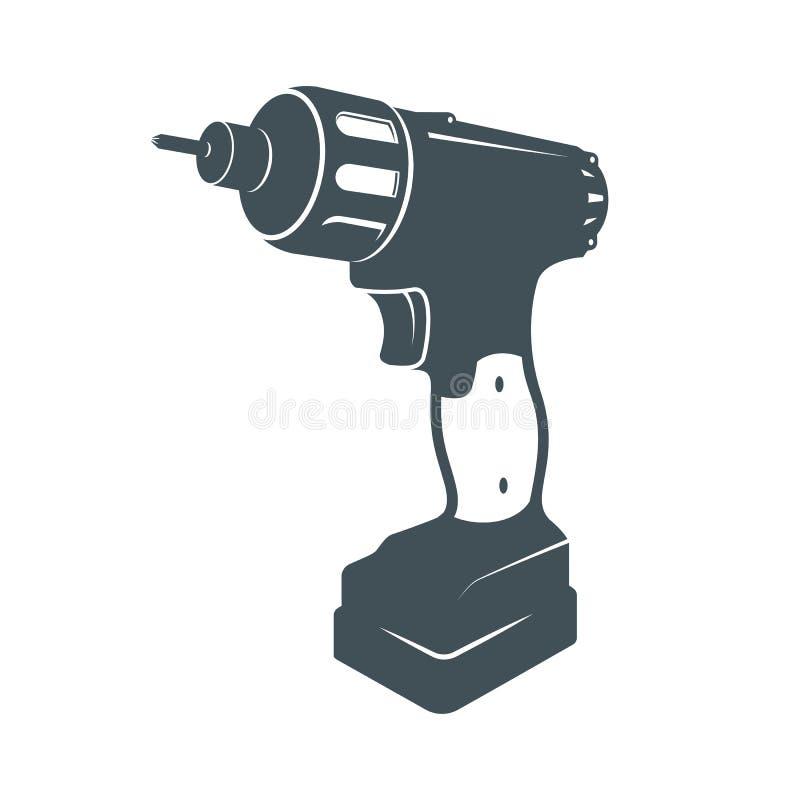 Świderu handtool wektorowy mieszkanie electro narzędzia Elektryczna śrubokrętu kawałka ikona zdjęcie royalty free