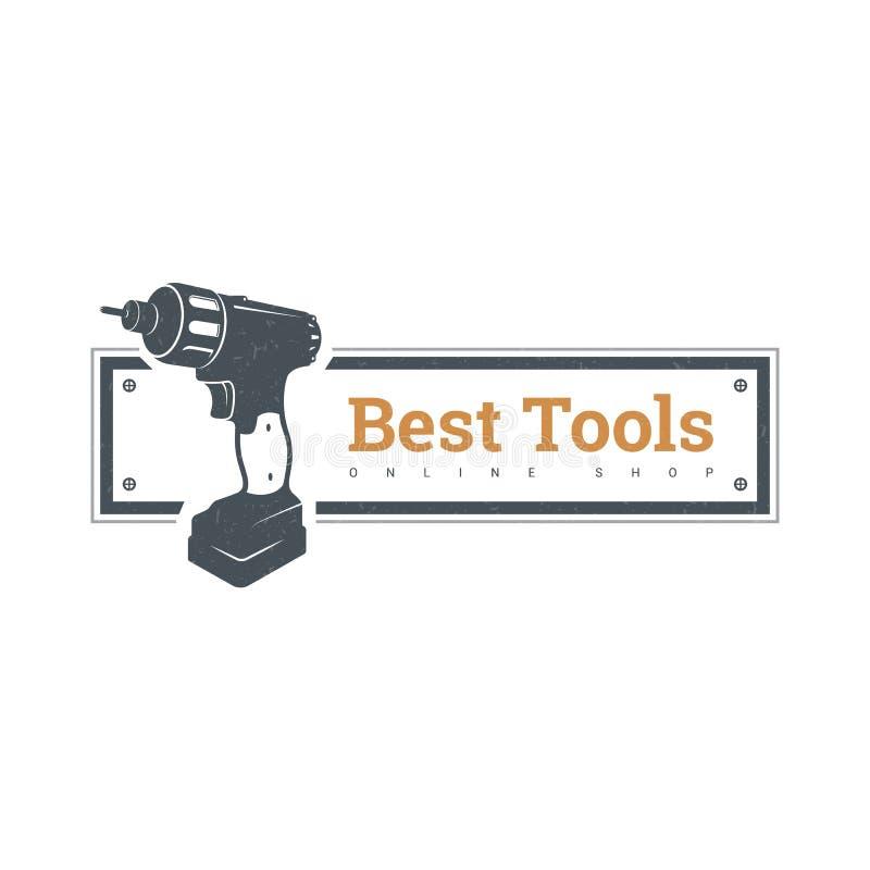 Świderu handtool wektorowy mieszkanie electro narzędzia Elektryczna śrubokrętu kawałka ikona logo cztery elementy projektu tła sn zdjęcia stock