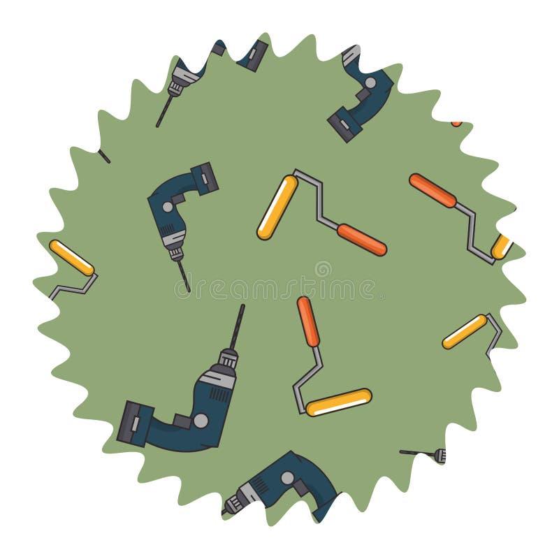 Świderu i rolki farby round etykietka ilustracji
