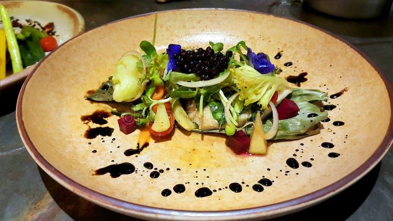 Świeża Łososiowa sałatka z mieszanymi warzywami fotografia stock