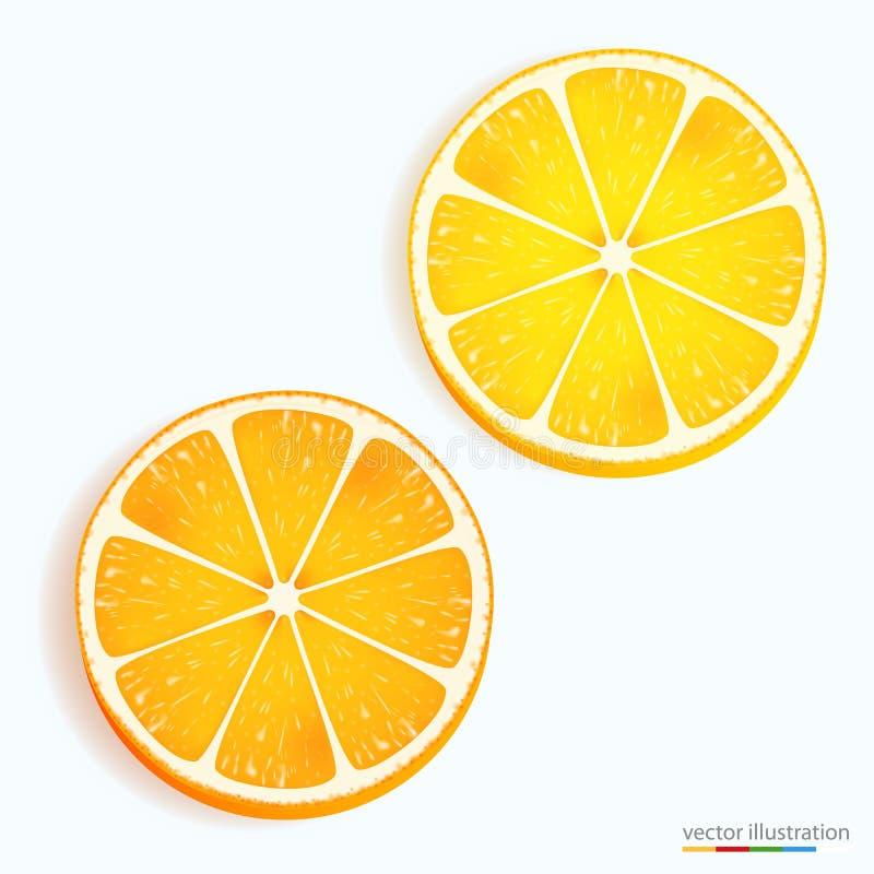 Świeża cytryna i pomarańczowa plasterek ikona na bielu ilustracji