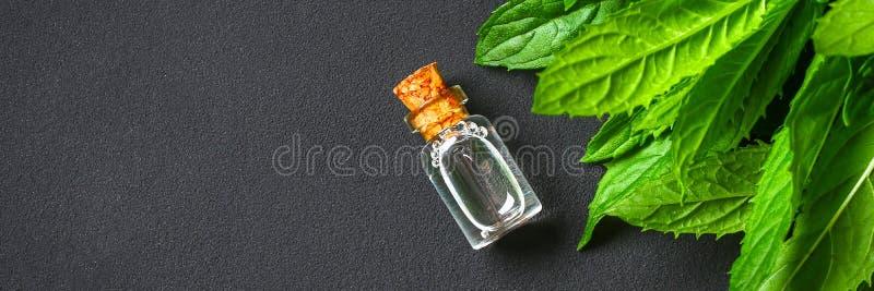 Świeża domowej roboty zielona miętówka i masło w szklanej małej butelce na szarym zmroku betonu stole Odgórny widok fotografia royalty free