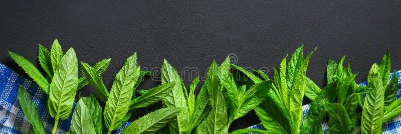 Świeża domowej roboty zielona miętówka na szarym zmroku betonu stole Odgórny widok fotografia stock