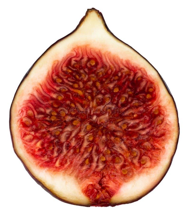 świeża fig Połówka odizolowywająca na białym tle owoc Z klamerką fotografia royalty free