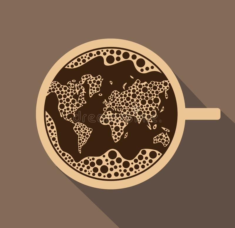 Świeża filiżanka kawy z pianą w formie światowej mapy w vec ilustracja wektor