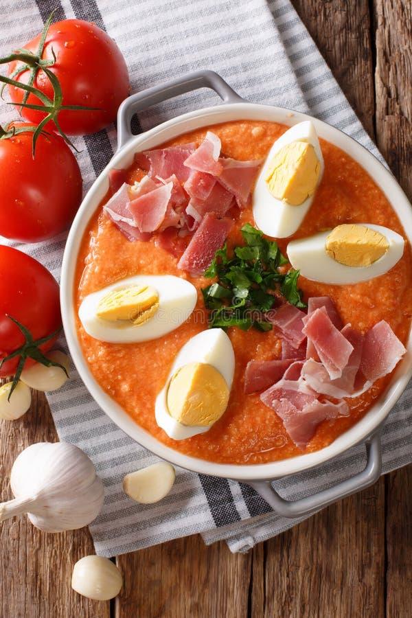 Świeża hiszpańszczyzny Antequera Porra jarzynowa polewka z gotowanymi jajkami zdjęcie royalty free
