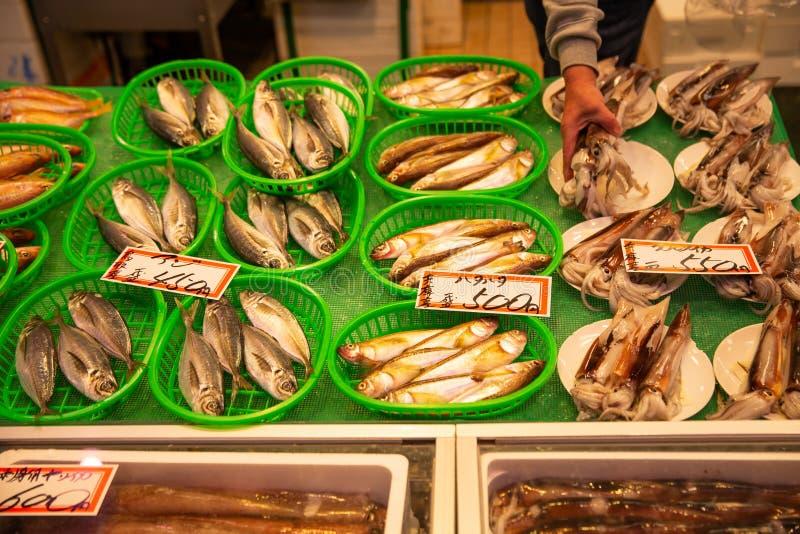 Świeża japończyk ryba, Omicho rynek przy Kanazawa, JAPONIA obraz stock
