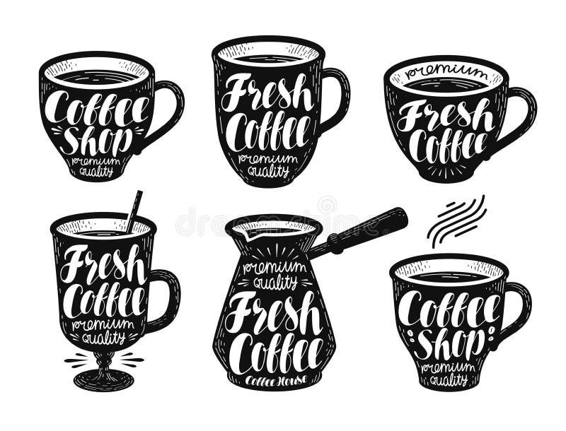 Świeża kawa, etykietka set Kawa espresso, kubek, gorąca napój ikona lub logo, Ręcznie pisany literowanie wektoru ilustracja royalty ilustracja