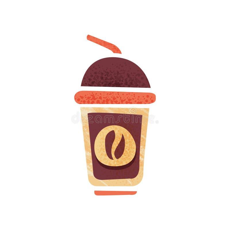 Świeża kawa w plastikowej filiżance z pić słomę i dekiel gorący napój Ikona z teksturą Płaski wektor dla plakata kawa royalty ilustracja