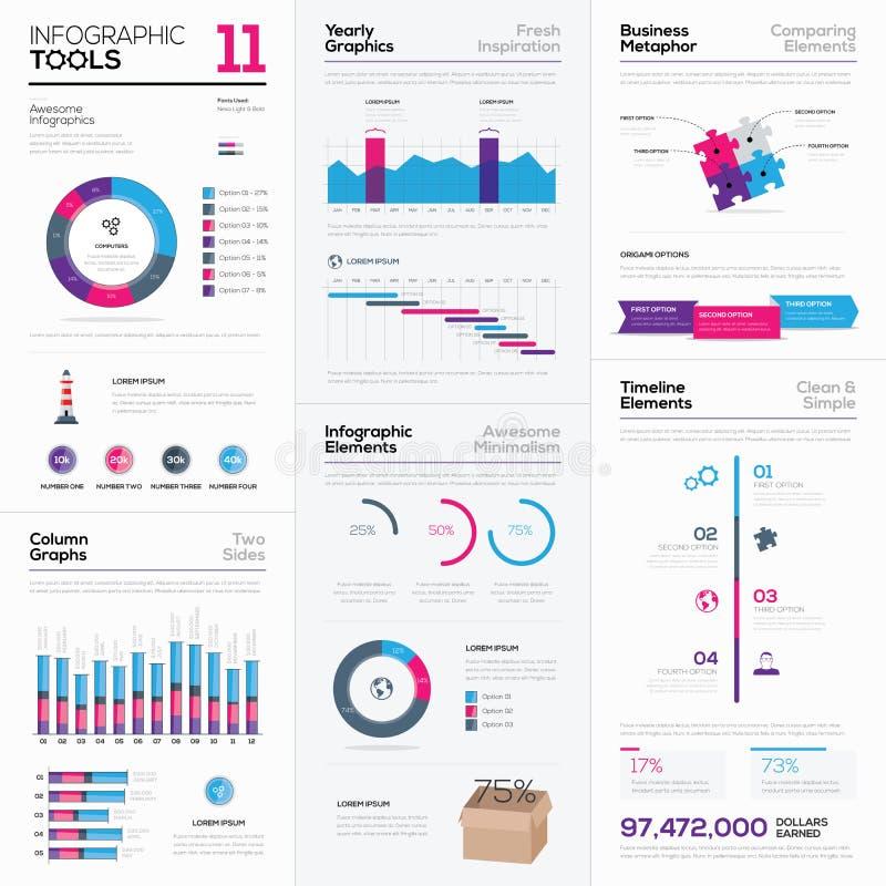 Świeża kolekcja różnorodni infographic biznesowi elementy ilustracja wektor